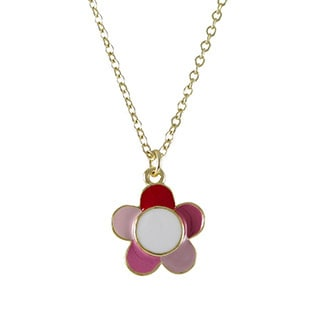 Luxiro Goldtone Children's Multi-color Enamel Flower Necklace