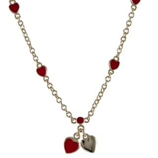 Luxiro Goldtone Children's Enamel Hearts Pendant Necklace