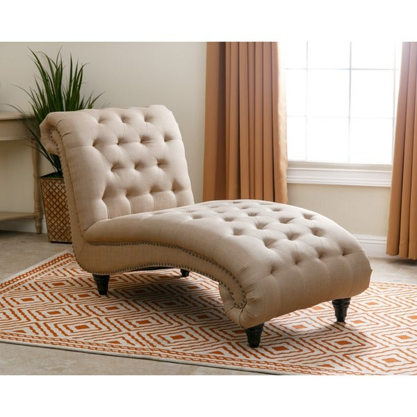 Shop Abbyson Alessio Beige Tufted Linen Chaise On Sale Free