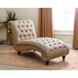 Abbyson Alessio Linen Beige Fabric Chaise