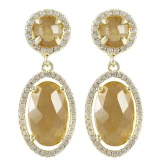 Goldtone Cubic Zirconia Glass Oval Halo Dangle Earrings