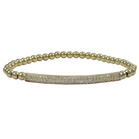 Luxiro Gold Finish Pave Cubic Zirconia Bar and 4 mm Ball Stretch Bracelet