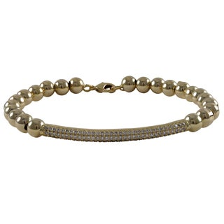 Luxiro Goldtone Cubic Zirconia Bar and 6mm Ball Bracelet