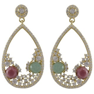 Luxiro Goldtone Sterling Silver Semi-precious and Cubic Zirconia Earrings