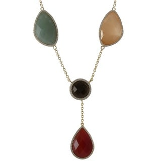 Luxiro Goldtone Sterling Silver Semi-precious and Cubic Zirconia Necklace
