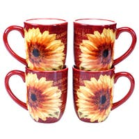 Certified International Paris Sunflower 18-ounce Mug (Set of 4)
