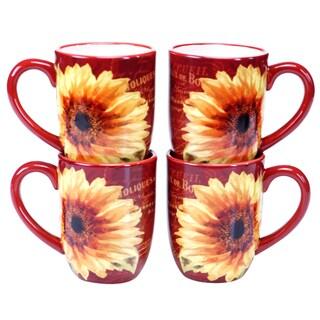 Certified International Paris Sunflower 18-ounce Mug (Set of 4)