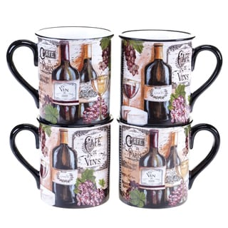 Certified International Grand Vin 16-ounce Mug, 2 Assorted Designs (Set of 4)