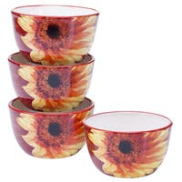 Certified International Paris Sunflower Ice Cream Bowls, 5.25-inch x 3-inch (Set of 4)