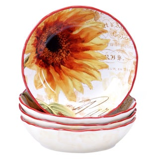 Certified International Paris Sunflower 8-inch Soup/Pasta Bowl (Set of 4)