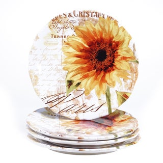 Certified International Paris Sunflower 11-inch Dinner Plate (Set of 4)  sc 1 st  Overstock.com & Certified International Paris Sunflower 8.75-inch Salad/Dessert ...