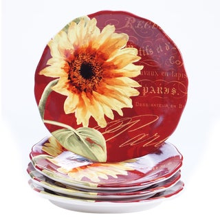 Certified International Paris Sunflower 8.75-inch Salad/Dessert Plates (Set of 4)