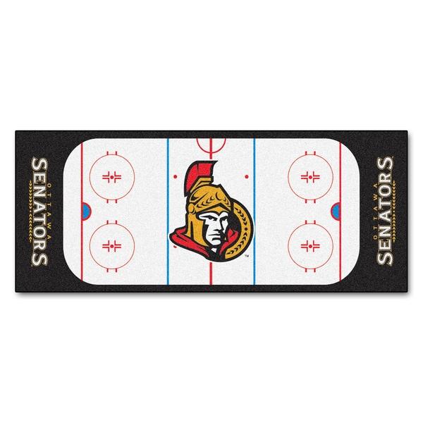 Fanmats Machine-made Ottawa Senators White Nylon Rink Runner (2'5 x 6')