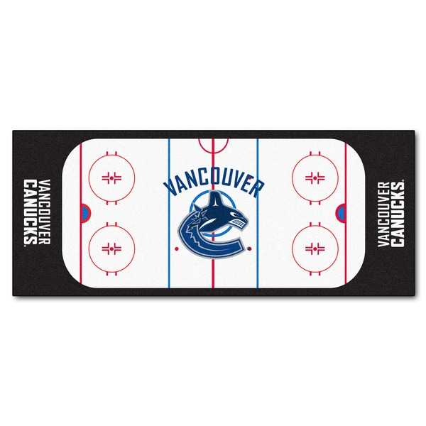 Fanmats Machine-made Vancouver Canucks White Nylon Rink Runner (2'5 x 6')