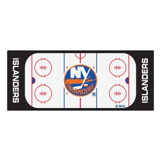 Fanmats Machine-made New York Islanders White Nylon Rink Runner (2'5 x 6')