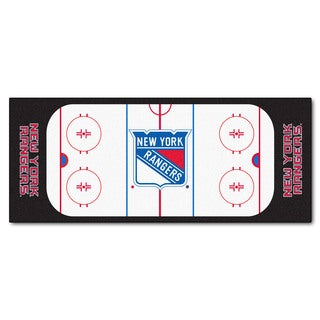 Fanmats Machine-made New York Rangers White Nylon Rink Runner (2'5 x 6')