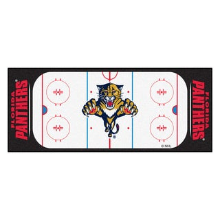 Fanmats Machine-made Florida Panthers White Nylon Rink Runner (2'5 x 6')