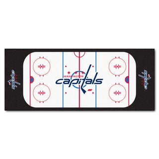 Fanmats Machine-made Washington Capitals White Nylon Rink Runner (2'5 x 6')