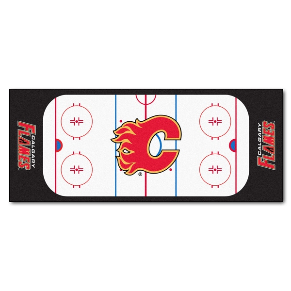Fanmats Machine-made Calgary Flames White Nylon Rink Runner (2'5 x 6')