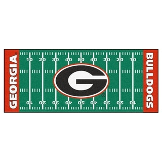 Fanmats Machine-made University of Georgia Green Nylon Football Field Runner (2'5 x 6')