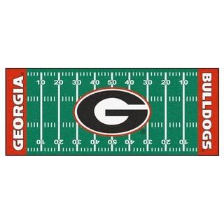 Fanmats Machine-made University of Georgia Green Nylon Football Field Runner (2'5 x 6')