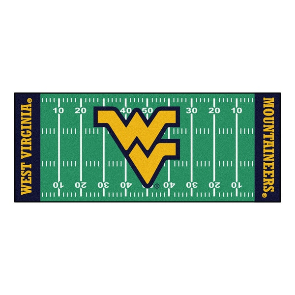 Fanmats Machine-made West Virginia University Green Nylon Football Field Runner (2'5 x 6')