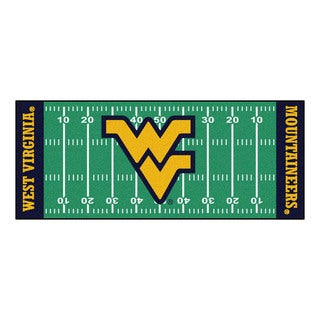Fanmats Machine-made West Virginia University Green Nylon Football Field Runner (2'5 x 6')