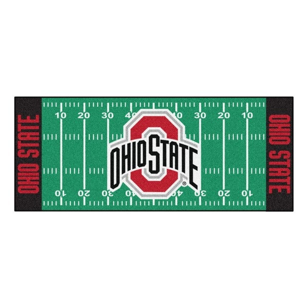 Fanmats Machine-made Ohio State University Green Nylon Football Field Runner (2'5 x 6')