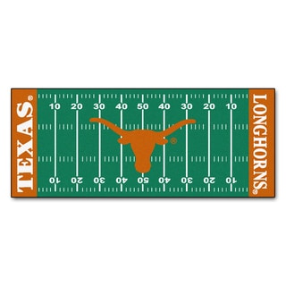 Fanmats Machine-made University of Texas Green Nylon Football Field Runner (2'5 x 6')