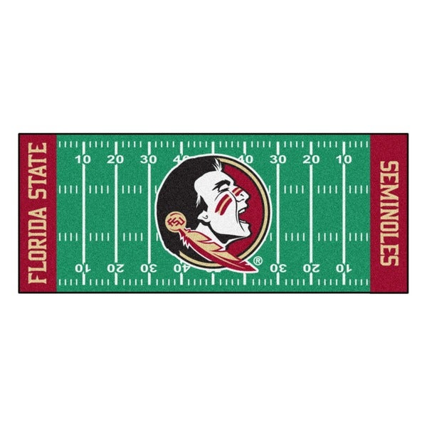 Fanmats Machine-made Florida State University Green Nylon Football Field Runner (2'5 x 6')