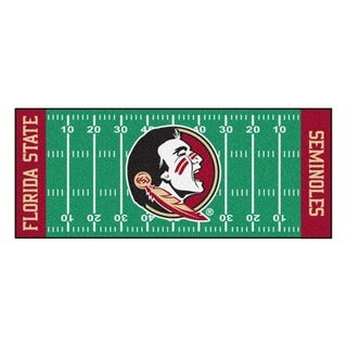 Fanmats Machine-made Florida State University Green Nylon Football Field Runner (2'5 x 6')