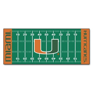 Fanmats Machine-made University of Miami Green Nylon Football Field Runner (2'5 x 6')