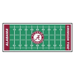 Fanmats Machine-made University of Alabama Green Nylon Football Field Runner (2'5 x 6')