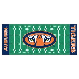 Fanmats Machine-made Auburn University Green Nylon Football Field Runner (2'5 x 6')