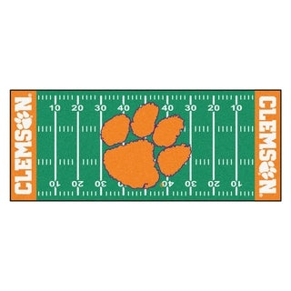 Fanmats Machine-made Clemson University Green Nylon Football Field Runner (2'5 x 6')