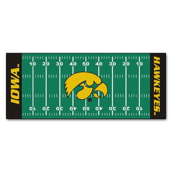 Fanmats Machine-made University of Iowa Green Nylon Football Field Runner (2'5 x 6')