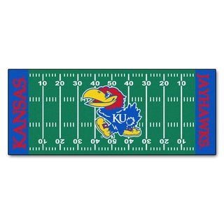 Fanmats Machine-made University of Kansas Green Nylon Football Field Runner (2'5 x 6')