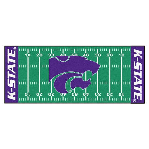 Fanmats Machine-made Kansas State University Green Nylon Football Field Runner (2'5 x 6')