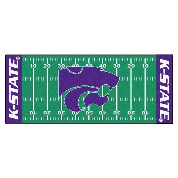 Fanmats Machine-made Kansas State University Green Nylon Football Field Runner (2'5 x 6')