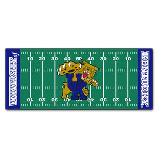 Fanmats Machine-made University of Kentucky Green Nylon Football Field Runner (2'5 x 6')