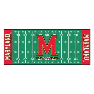 Fanmats Machine-made University of Maryland Green Nylon Football Field Runner (2'5 x 6')