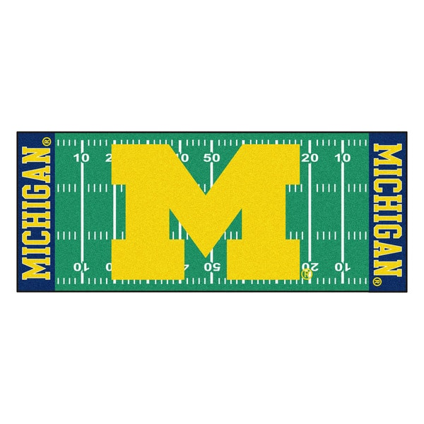 Fanmats Machine-made University of Michigan Green Nylon Football Field Runner (2'5 x 6')