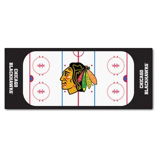 Fanmats Machine-made Chicago Blackhawks White Nylon Rink Runner (2'5 x 6')