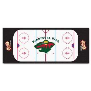 Fanmats Machine-made Minnesota Wild White Nylon Rink Runner (2'5 x 6')
