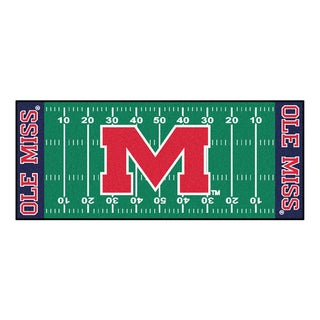 Fanmats Machine-made University of Mississippi Green Nylon Football Field Runner (2'5 x 6')