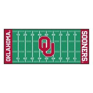 Fanmats Machine-made University of Oklahoma Green Nylon Football Field Runner (2'5 x 6')