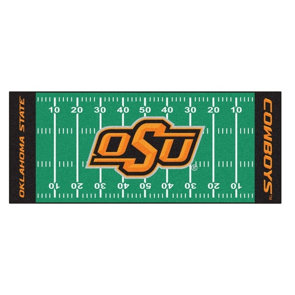 Fanmats Machine-made Oklahoma State University Green Nylon Football Field Runner (2'5 x 6')