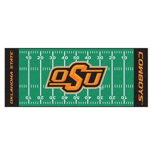 Fanmats Machine-made Oklahoma State University Green Nylon Football Field Runner (2'5 x 6')