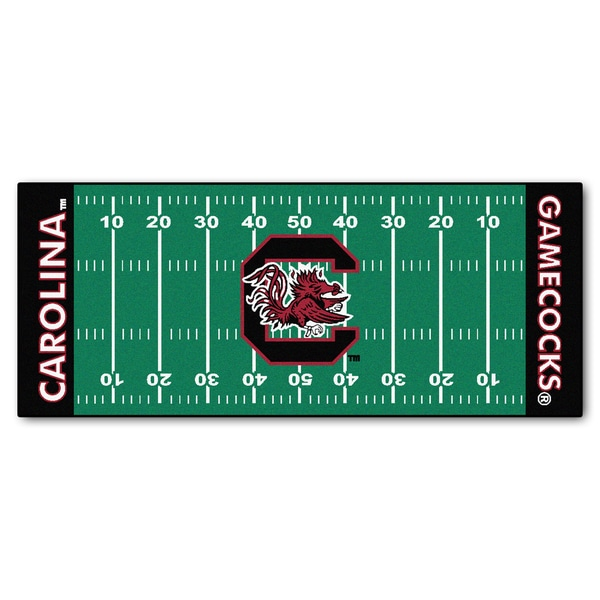 Fanmats Machine-made University of South Carolina Green Nylon Football Field Runner (2'5 x 6')