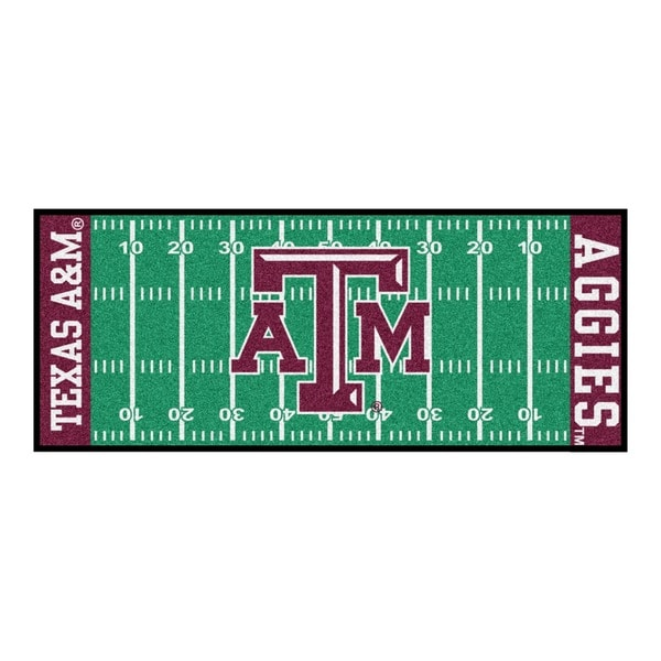 Fanmats Machine-made Texas A&M University Green Nylon Football Field Runner (2'5 x 6')
